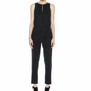 Rag & Bone black Adeline jumpsuit leather trim 6